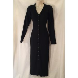 Carole Little VTG Button Down Sweater Maxi Dress